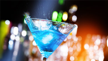 a blue cocktail